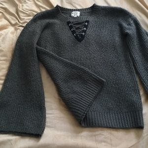 Bell Sleeve Army Green Sweater with Black Ties